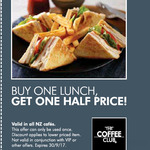 Buy 1 Lunch, Get 1 Lunch Half Price @ The Coffee Club