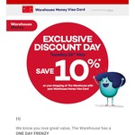 10% off @ The Warehouse (16th May + Warehouse Visa Card Holders Only)