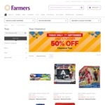 Further 50% off Clearance Toys @ Farmers (Sept 7 Only)