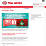 New World $10 Christmas Club Credit