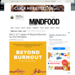 Win 1 of 7 copies of beyond Burnout by Suzi McAlpine Worth $38ea from Mindfood