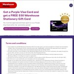 FREE $50 Warehouse Stationery Gift Card When You Get a Purple Warehouse Money Visa (Fee Free/Purchase Required)