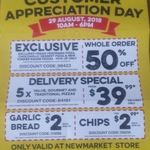 Domino's (Newmarket) Customer Appreciation Day: 50% off Whole Order, $2 Garlic Bread (29 Aug, 10am to 6pm)