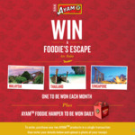 Win Return Flights for 2 to Singapore, Penang, or Phuket + 5nts Hotel or 1 of 84 Ayam Food Packs from Ayam