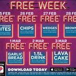 Free Wedges (27/2), Brownie (28/2), Garlic Bread (1/3), 1.5 Drink (2/3), Lava Cake (3/3) with Delivered Pizza Purchase @ Domino'