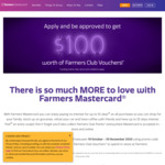 Annual Fee Waived for First Year + Get $100 Worth of Farmers Club Vouchers with Farmers Mastercard