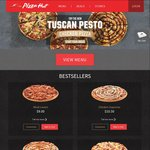 Free Garlic Bread with Large Pizza Hut Tuscan Pesto Chicken Pizza