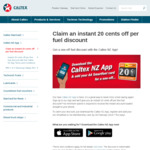 Claim an Instant 20 Cents off Per Fuel Discount @ Caltex (via App)