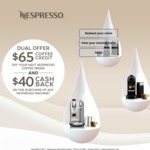 Nespresso Father's Day Cashback: $65 Coffee Credit and $40 Cashback (e.g. Essenza Mini $98 after Cashback)
