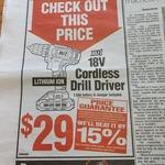 18V Cordless Drill Driver XU1 $29 @ Bunnings