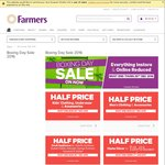 Farmers Boxing Day Sale Half Price Mens + Kids Clothing, Small Appliances, Lingerie and Womens Hosiery (Some Exclusions)