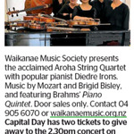 Win 2 Tickets to Aroha String Quartet from The Dominion Post (Wellington)