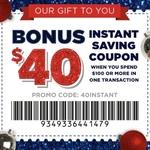 $40 off $100 Spend at Spotlight