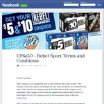$5 or $10 Rebel Sport Coupon with 3 or 6 Pack of Up&Go