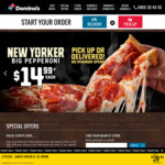 Butter Chicken Pizzas $9.99 (Pickup), New Yorker Pepperoni $14.99 (Delivered) - No Min Spend @ Domino's