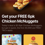 Free 6-Pack of Chicken McNuggets Wednesday 25th November @ McDonald's (via App)