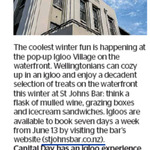Win an Igloo Experience with Food and Drink for Two People (Value $90) from The Dominion Post (Wellington)