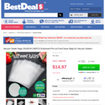 Vacuum Sealer Bags 25x35CM 100PCS Embossed Pre-cut Food Saver Bags, 70% OFF $14.97 Only(was $49.95) + Delivery @ Best Deals